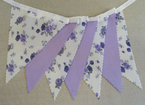BUNTING - Purple and Lilac 'Vintage Rose' and Plain Lilac - 3m, 5m or 10m - Wedding